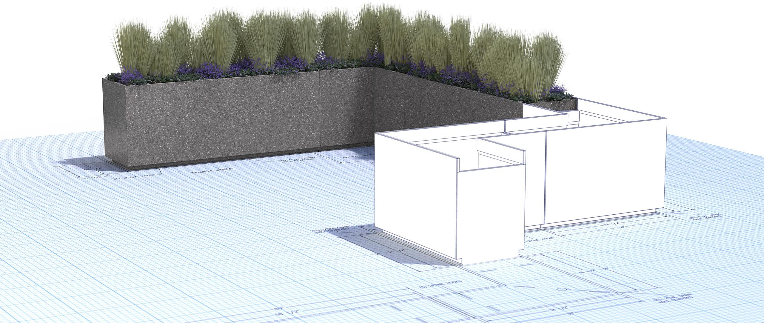 Concrete Architectural Amenities Furniture Commercial Pavers